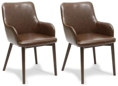 Shankar Sidcup Vintage Leather Dining Chair - Brown (Pair)