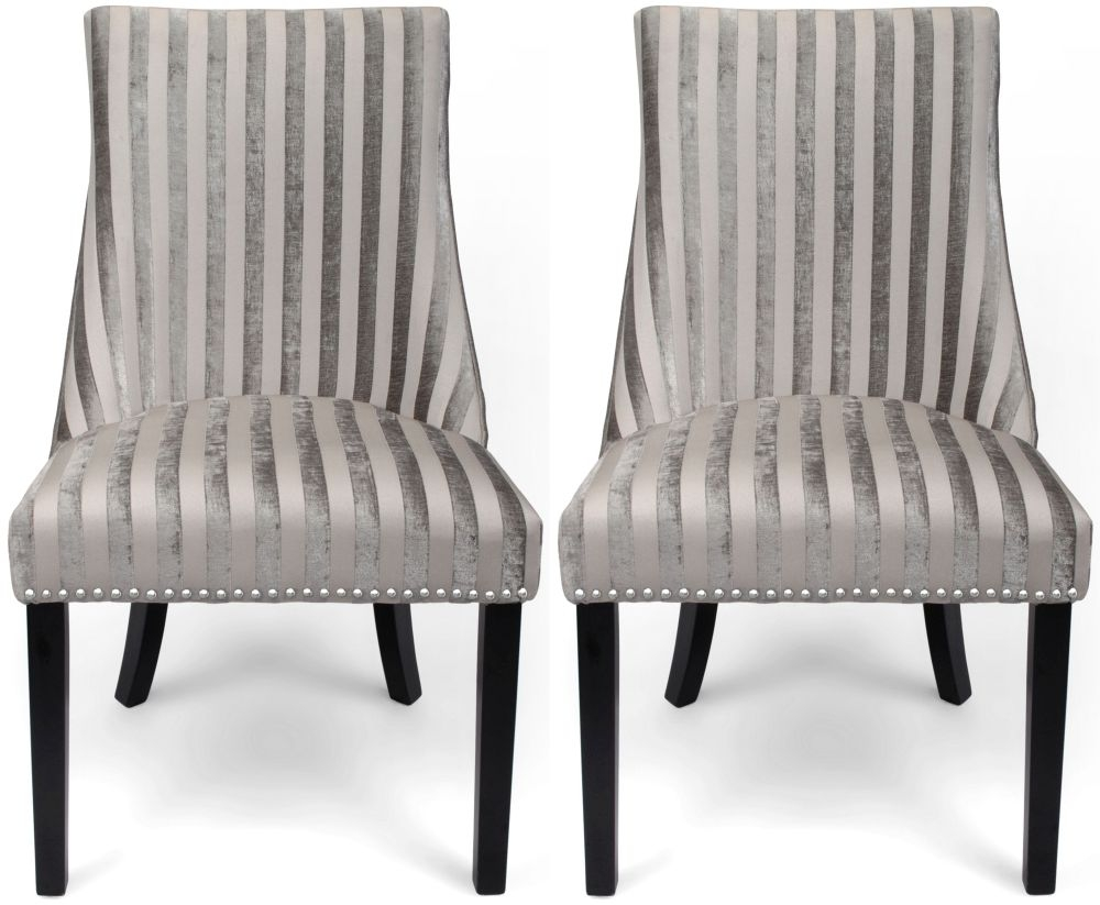 Accent Chairs Sold In Pairs.Shankar Balmoral Mink Velvet Stripe Studded Accent Dining Chair Pair