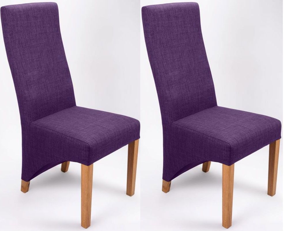 Shankar Baxter Linen Effect Dining Chair - Plum (Pair)