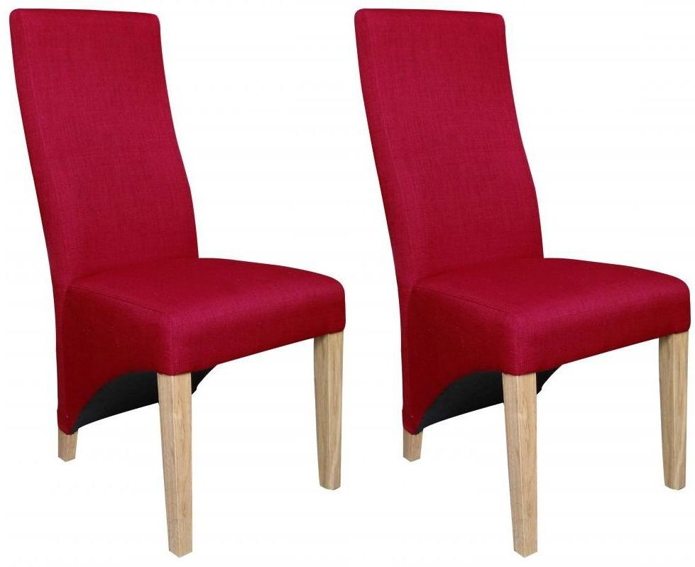 Shankar Baxter Linen Effect Dining Chair - Red (Pair)
