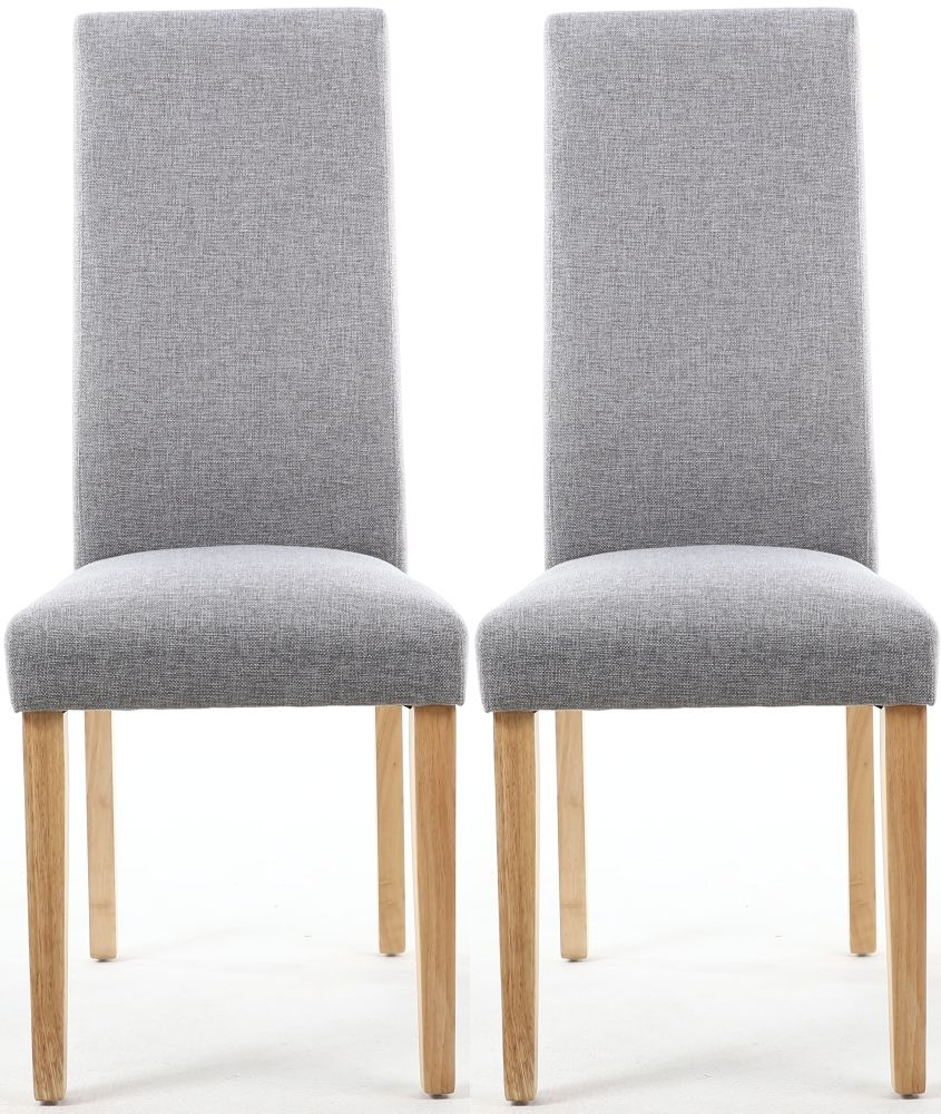 Shankar Bexley Silver Grey Linen Effect Fabric Wave Back Accent Dining Chair (pair)