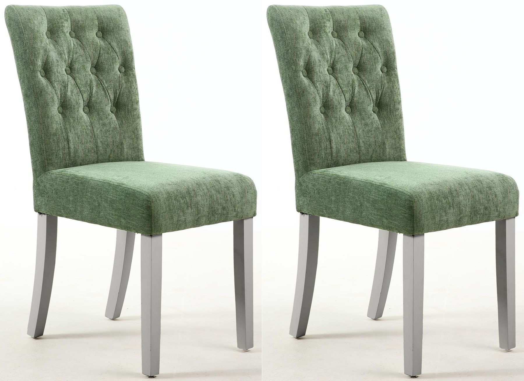 Shankar Diamond Olive Green Chenille Effect Fabric Tufted Accent Dining Chair With Grey Legs Pair