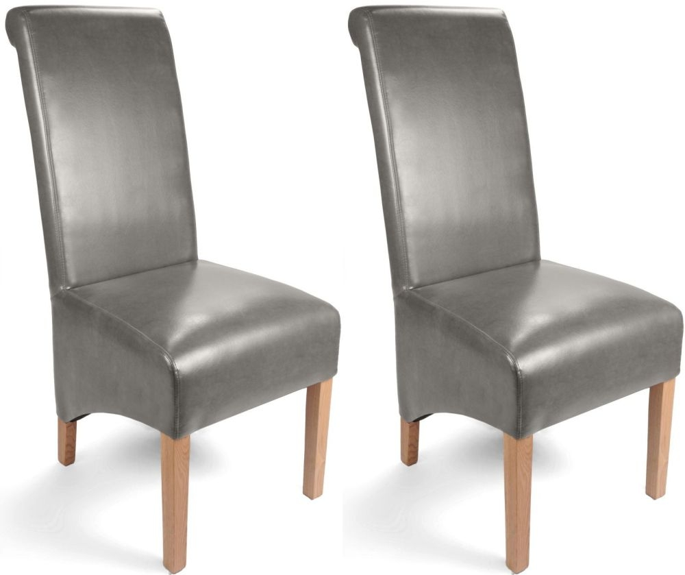 buy shankar grey leather match roll back dining chair pair online cfs uk. Black Bedroom Furniture Sets. Home Design Ideas