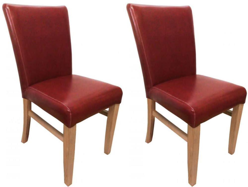 Shankar Jacob Bonded Leather Dining Chair - Burgundy (Pair)