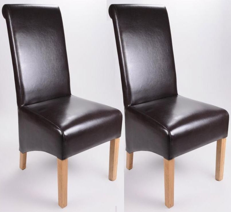 Shankar Krista Bonded Leather Dining Chair - Brown (Pair)