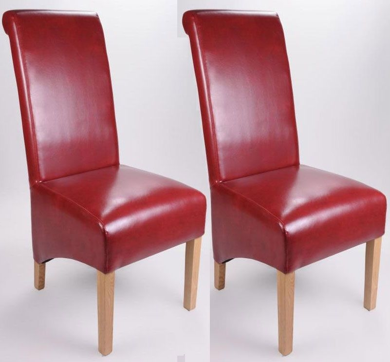 Shankar Krista Bonded Leather Dining Chair - Burgundy (Pair)