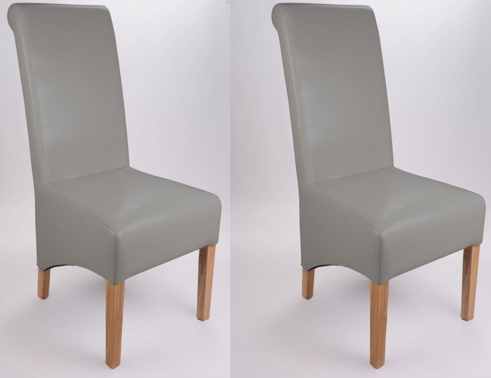 Attractive Shankar Krista Bonded Leather Dining Chair   Grey (Pair) Part 3