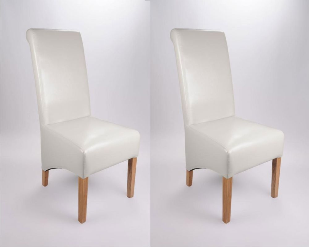Shankar Krista Bonded Leather Dining Chair - White (Pair)