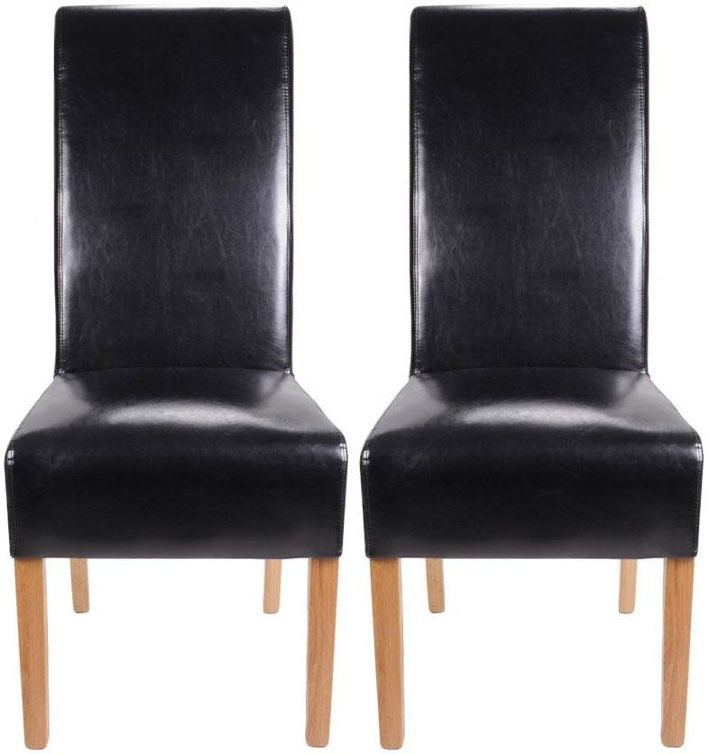 Shankar Krista Crib 5 Leather Dining Chair - Black (Pair)