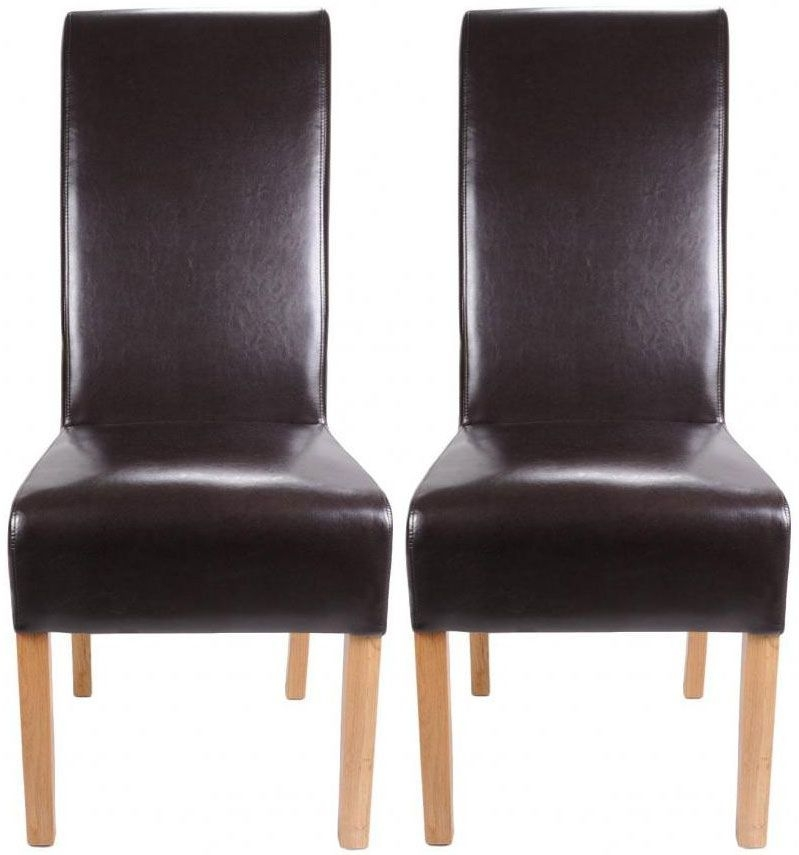 Shankar Krista Crib 5 Leather Dining Chair - Brown (Pair)