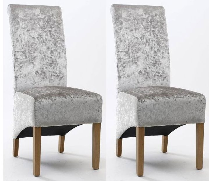 Shankar Krista Crushed Velvet Dining Chair - Silver (Pair)