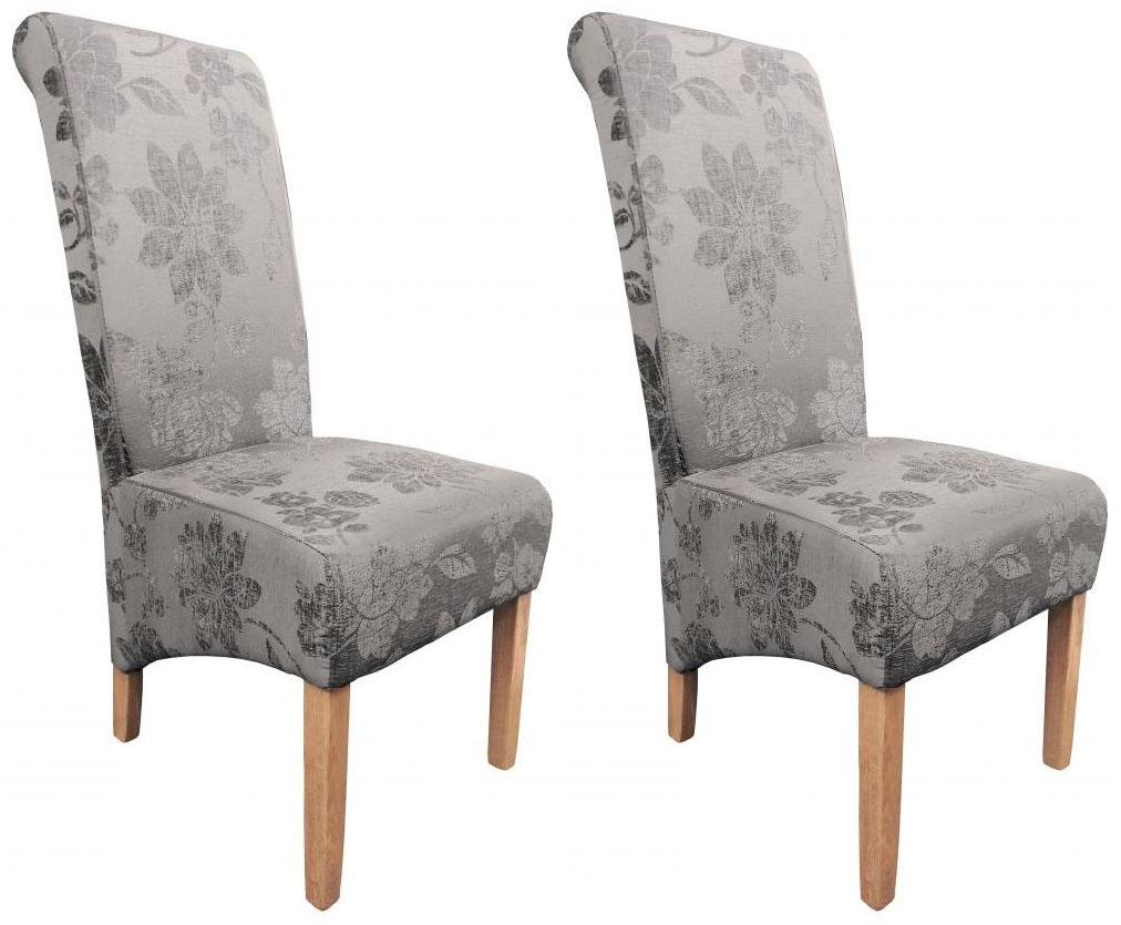 Shankar Krista Fleur Fabric Dining Chair - Antique Grey (Pair)