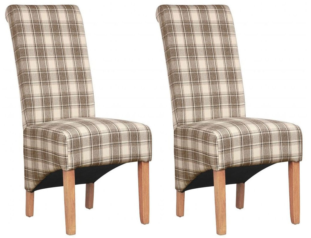 Shankar Krista Herringbone Dining Chair - Brown Check (Pair)