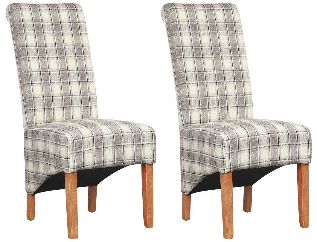 Shankar Krista Herringbone Dining Chair - Cappuccino Check (Pair)