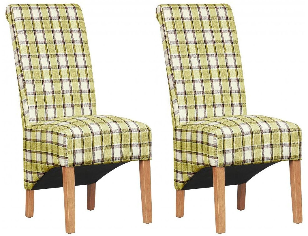 Shankar Krista Herringbone Dining Chair - Lime Check (Pair)