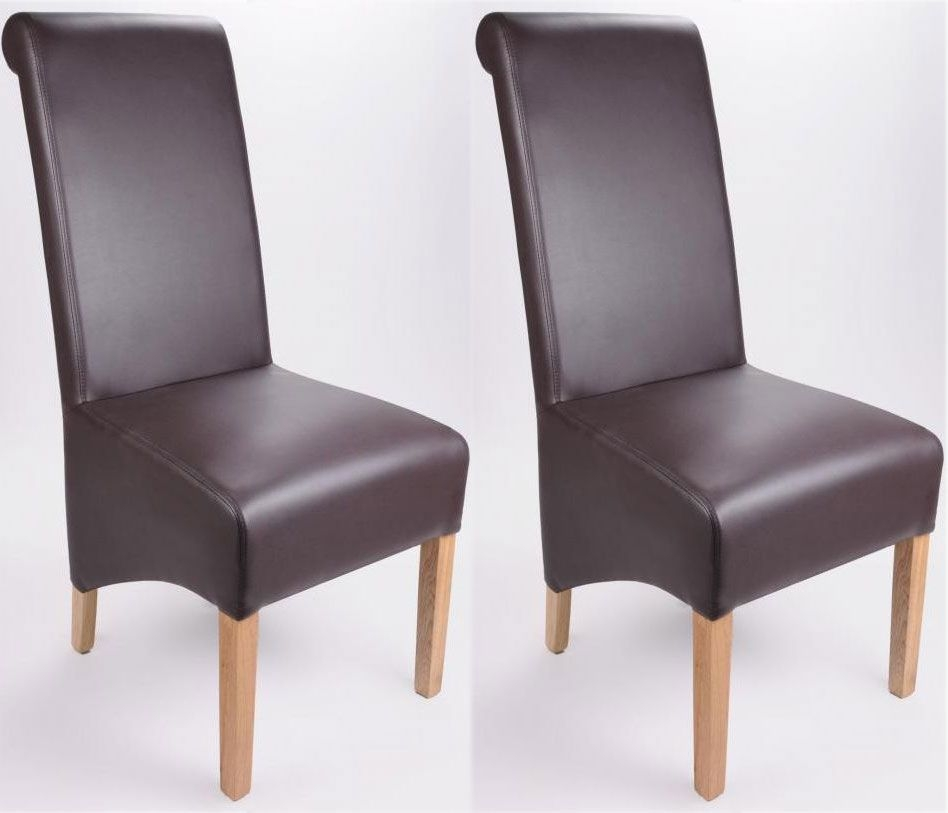 Shankar Krista Madras Leather Dining Chair - Chocolate (Pair)