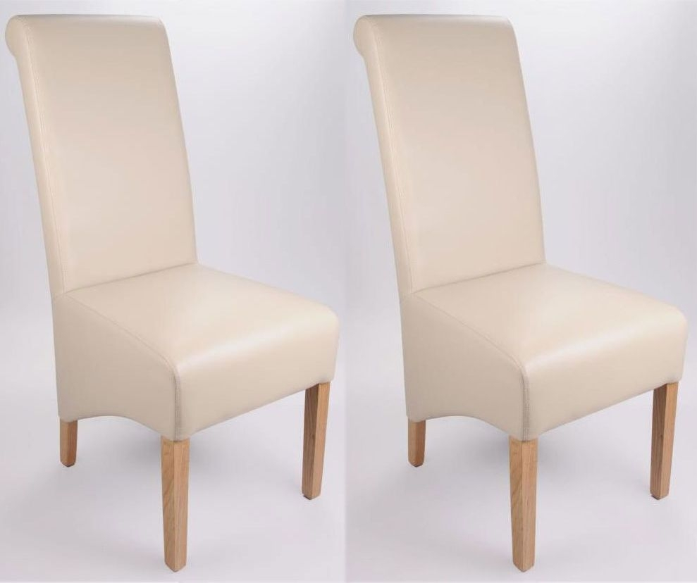 Shankar Krista Madras Leather Dining Chair - Ivory (Pair)