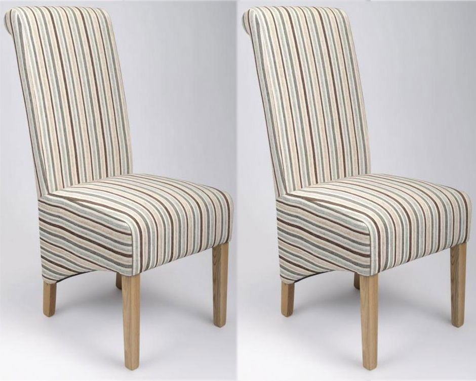 Shankar Krista Stripe Dining Chair - Duck Egg Blue (Pair)
