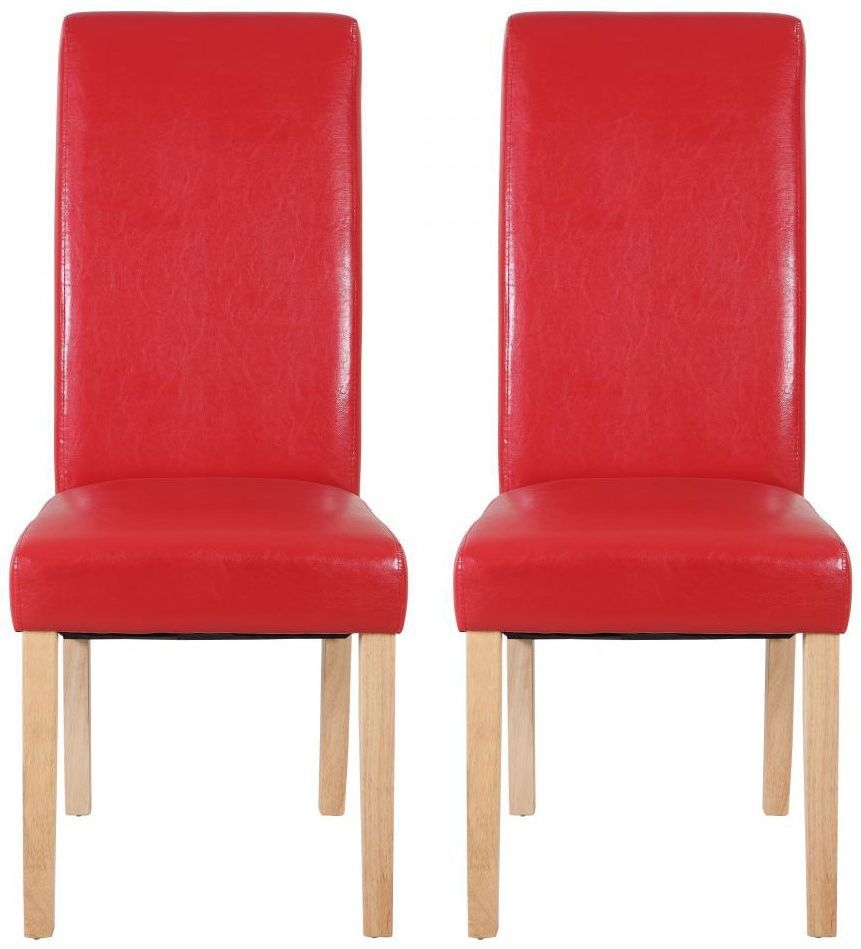 Shankar Lucy Leather Dining Chair - Red (Pair)