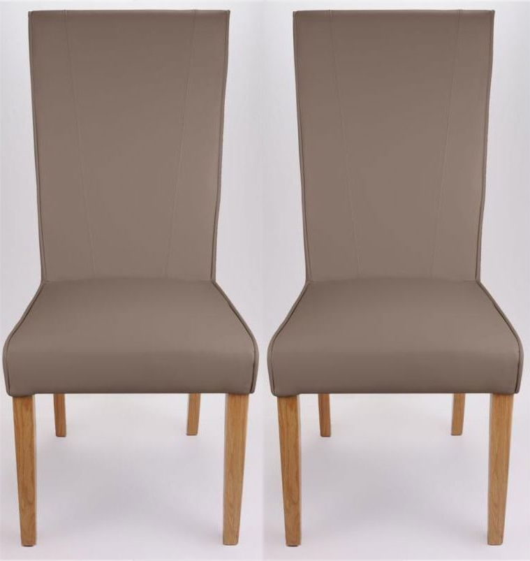 Shankar Marseille Madras Leather Dining Chair - Mushroom (Pair)