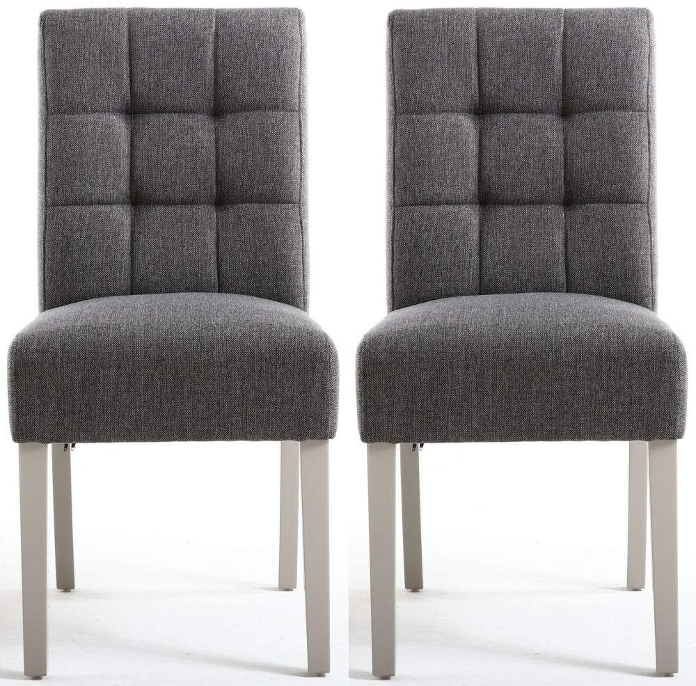 Shankar Moseley Steel Grey Linen Effect Stitched Back Fabric Accent Dining Chair With Grey Legs Pair Cfs Furniture Uk
