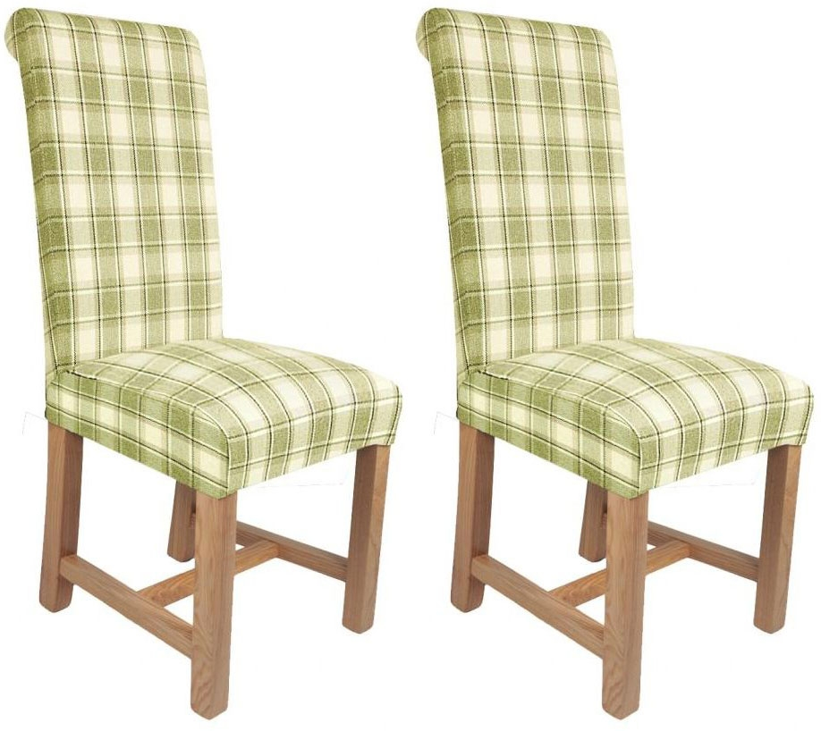 Shankar Richmond Herringbone Check Dining Chair - Lime (Pair)