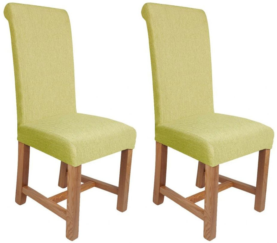 Shankar Richmond Herringbone Plain Dining Chair - Lime (Pair)