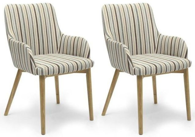 Shankar Sidcup Stripe Dining Chair - Duck Egg Blue (Pair)