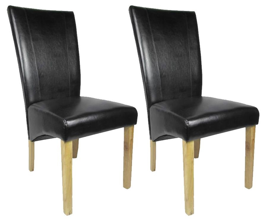 Shankar Versaille Leather Match Dining Chair - Black (Pair)