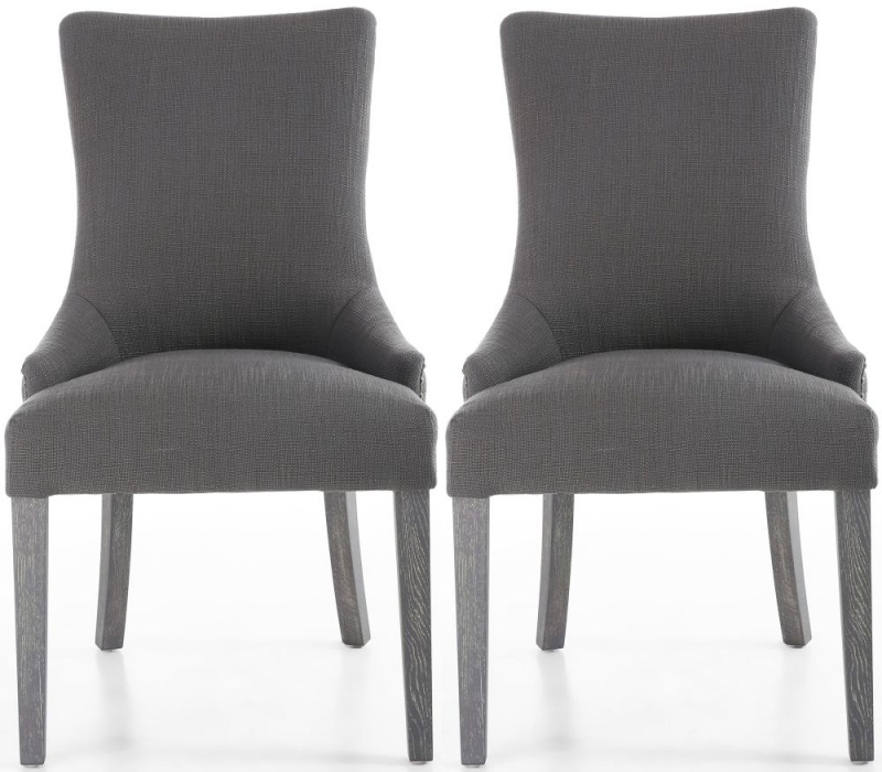 Shankar Ashley Antique Grey Linen Effect Fabric Tufted Studded Back Accent Dining Chair (Pair)