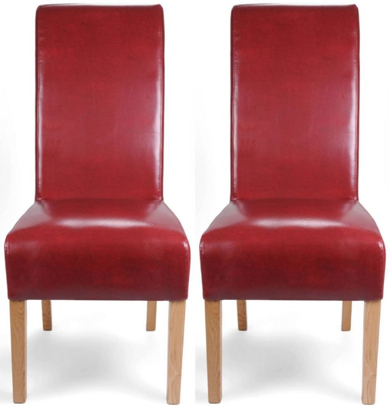 Shankar Krista Burgundy Bonded Leather Roll Back Accent Dining Chair (pair)