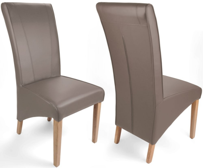 Shankar Marseille Mushroom Matt Bonded Leather Wide Back Accent Dining Chair (pair)