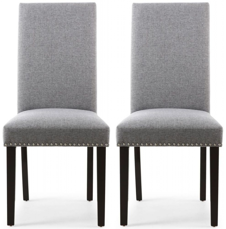 Shankar Randall Sliver Grey Linen Effect Fabric Studded Accent Dining Chair with Brown Legs (Pair)