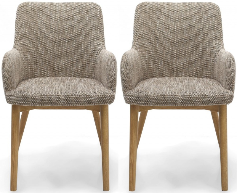 Shankar Sidcup Tweed Oatmeal Fabric Accent Dining Chair (pair)