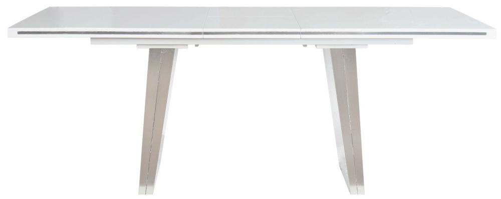 Shankar Athena White High Gloss Rectangular Extending Dining Table - 160cm-200cm