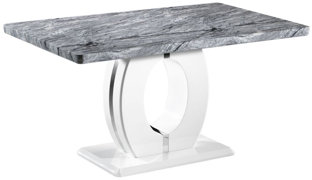 Shankar Neptune Grey And White High Gloss Marble Top Dining Table - 150cm