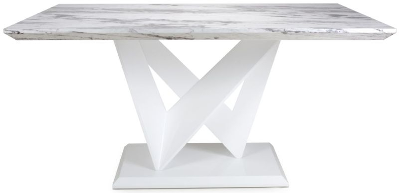 Shankar Saturn Grey and White High Gloss Medium Marble Top Dining Table