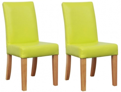 Shankar Bambi Kids Leather Match Green Dining Chair (Pair)