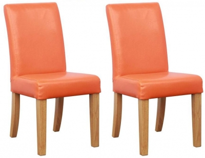 Shankar Bambi Kids Leather Match Orange Dining Chair (Pair)