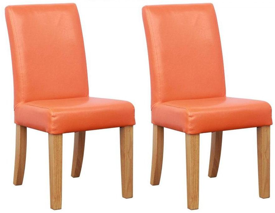 Shankar Bambi Kids Leather Match Orange Dining Chair (Pair)