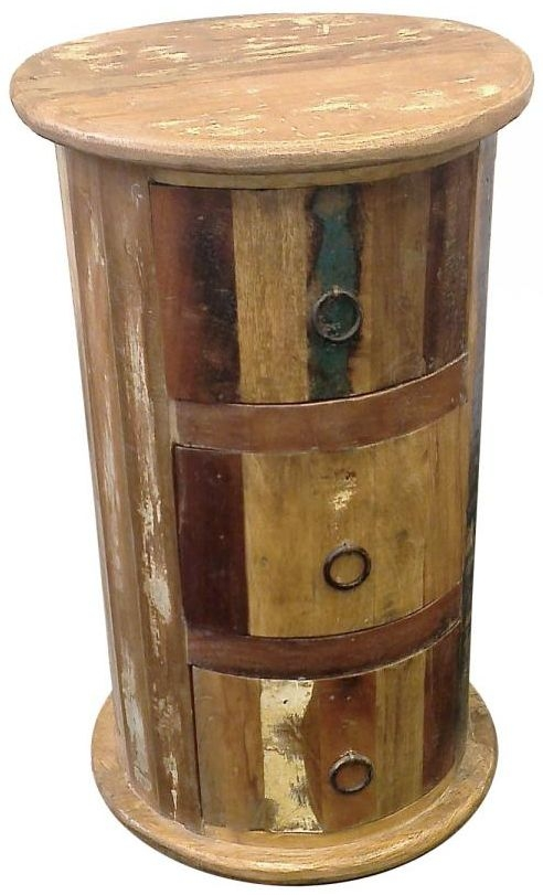 New England Reclaimed Round Chest of Drawer - 3 Drawer