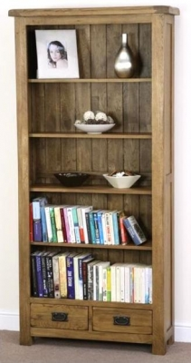 Shankar Oakly Rustic Bookcase - 2 Drawer
