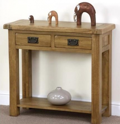 Shankar Oakly Rustic Console Table - 2 Drawer