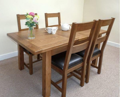 Shankar Oakly Rustic Dining Table - 1.5m Extending