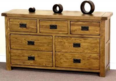 Shankar Oakly Rustic Wide Chest of Drawer - 3 Over 4 Drawer