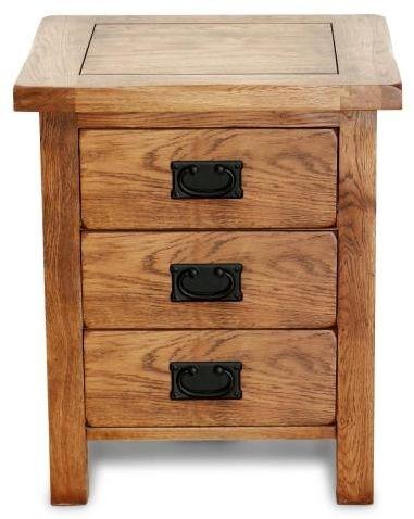 Shankar Oakly Rustic Bedside Cabinet - 3 Drawer