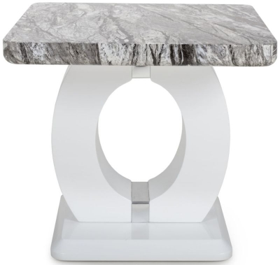 Shankar Neptune Grey and White High Gloss Marble Effect Top Side Table