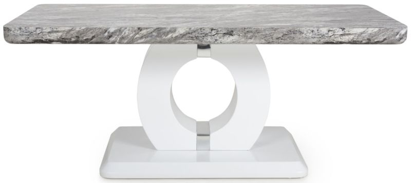 Shankar Neptune Grey and White High Gloss Marble Effect Top Coffee Table
