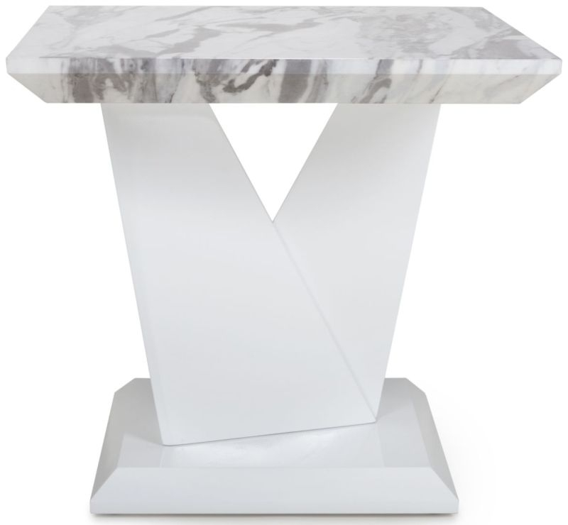 Product photograph showing Shankar Saturn Grey And White High Gloss Marble Top Lamp Table