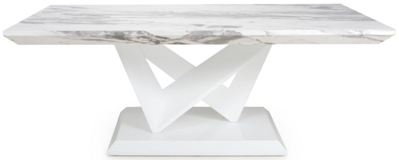 Shankar Saturn Grey and White High Gloss Marble Effect Top Coffee Table